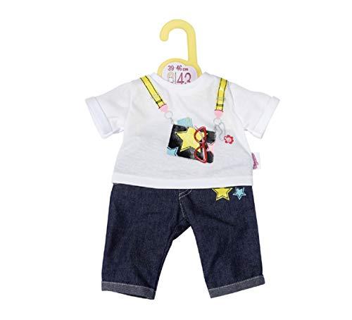 Zapf Creation 870983 Dolly Moda Jeans Hosen Outfit 43cm - Puppenkleidung, bestehend aus blauer Puppenhose im Jeans-Look und weißem T-Shirt