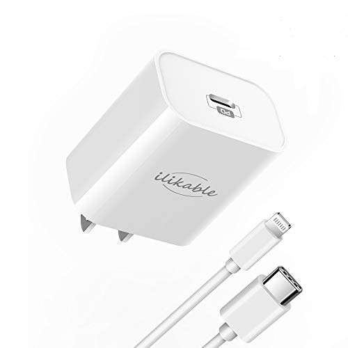 iPhone Fast Charger with Wall Plug - ilikable 18W PD Wall Charger with MFi Certified 6FT USB C to Lightning Cable Power Delivery Adapter Support for iPhone SE 11 Xs Max XR X 8 Plus iPad Pro, White