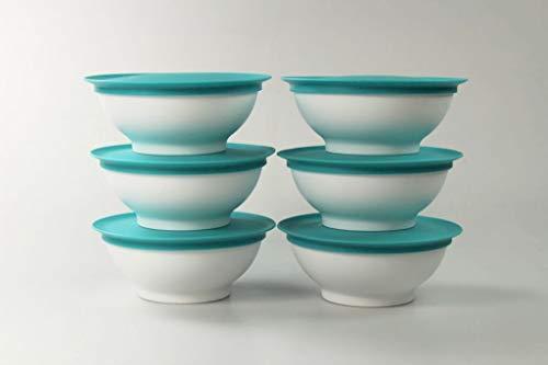 Tupperware Allegra - Cuencos de postre (275 ml, 6 unidades), color turquesa claro y blanco