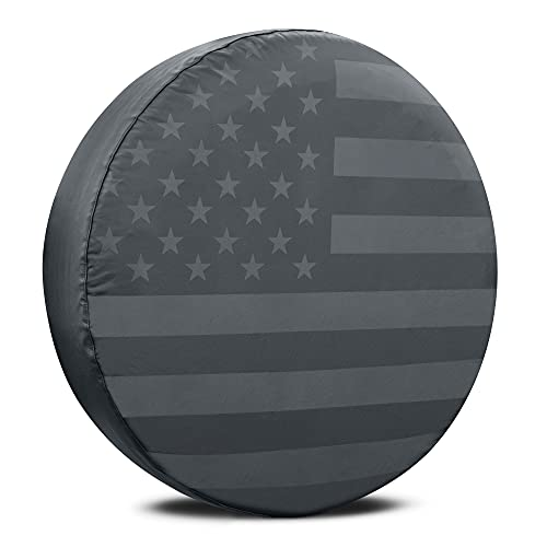 Black & Gray American Flag Spare Tire Cover for 16, 17 Inch Wheels Fits Jeep Wrangler SUVs Campers RV Accessories All Weather Premium Wheel Cover