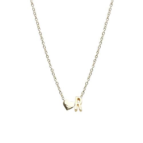 Sunlera Semplice a forma di cuore collana a catena Ragazze Lettera Donne regolabile in oro rosa gioielli regalo elegante