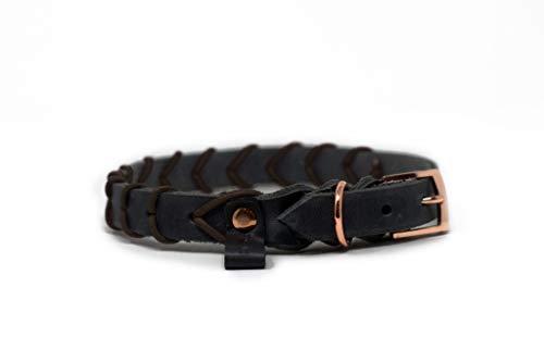 My Joone   Hundehalsband aus Fettleder in grau mit Nappalederverzierung in braun für kleine und große Hunde, Halsband Hund, Lederhalsband, Leder