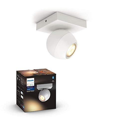 Philips Hue White Amb. LED 1-er Spotleuchte Buckram, weiß, dimmbar, alle Weißschattierungen, steuerbar via App, kompatibel mit Amazon Alexa (Echo, Echo Dot)