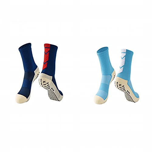 ZJKJ Calcetines De Fútbol Cortos para Adultos Hombres Toalla Dispensadora con Fondo Antideslizante Calcetines Deportivos De Entrenamiento De Competición(2 Pares)