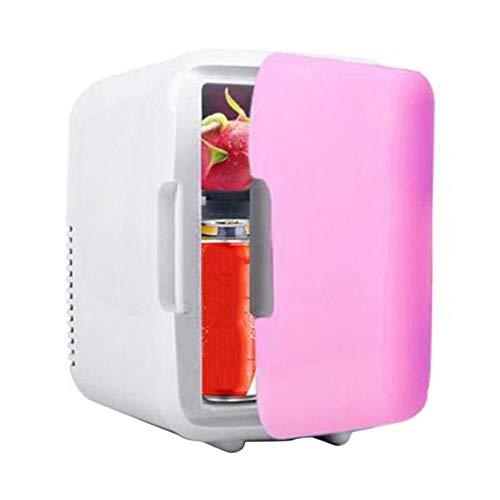 DDFHK Mini frigo da camera, Portatile e Silenzioso small fridge, Regolatore di Temperatura, 5 L - 12 V / 220 V Birra, For Home, Office, Car, Dormitorio (rosa)