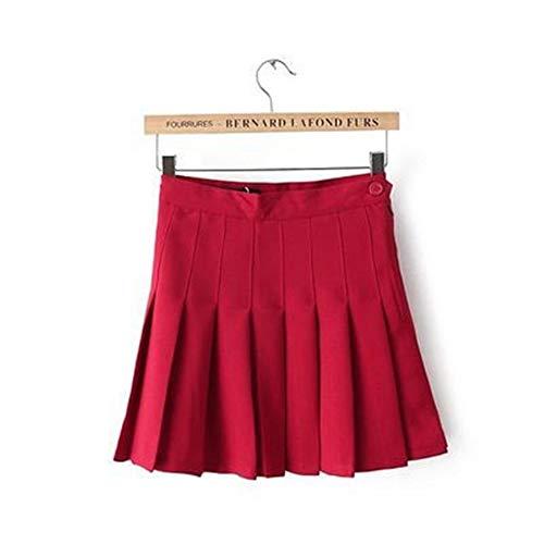 Mädchen Plissee Tennis-Rock Mit Hoher Taille Kurzes Kleid Mit Unterhose Schlank Schuluniform Frauen Teen Cheerleader Badminton Röcke (Color : Red, Size : XL)
