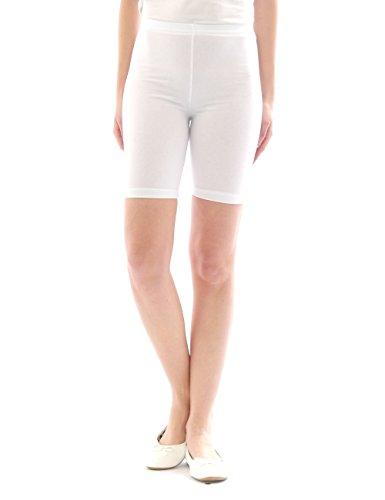 yeset Damen Sport Shorts Hotpants Sportshorts Radler Kurze Leggings Baumwolle Weiss L