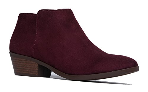 J. Adams Lexy Ankle Boot - Low Stacked Heel Closed Toe Casual Western Bootie Vino Suede
