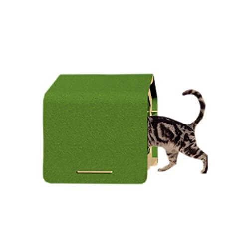 DUTUI منزل القط قابل للإزالة والغسل شبه مغلق ، منزل قطة خشبي مسامي ، مناسب للقطط التي يبلغ وزنها 10 كجم,Verde