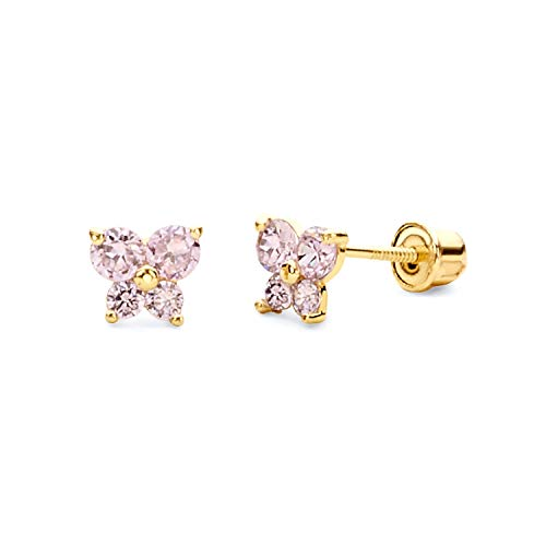 14k Yellow Gold Butterfly Stud Earrings with Screw Back, Oct