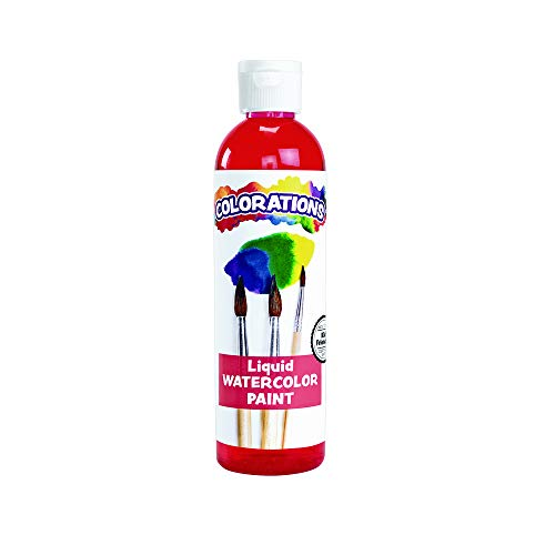 Colorations Liquid Watercolor Paint, 8 fl oz, Red, Non-Toxic, Painting, Kids, Craft, Hobby, Fun, Water Color, Posters, Cool Effects, Versatile, Gift, LWRE