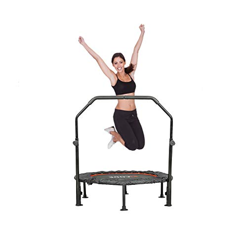 ephex 40' Foldable Fitness Trampoline, Mini Trampoline with Adjustable Handrail, Exercise Trampoline for Kids Adults Indoor/Outdoor Fitness Body Exercise Max Load 150KG