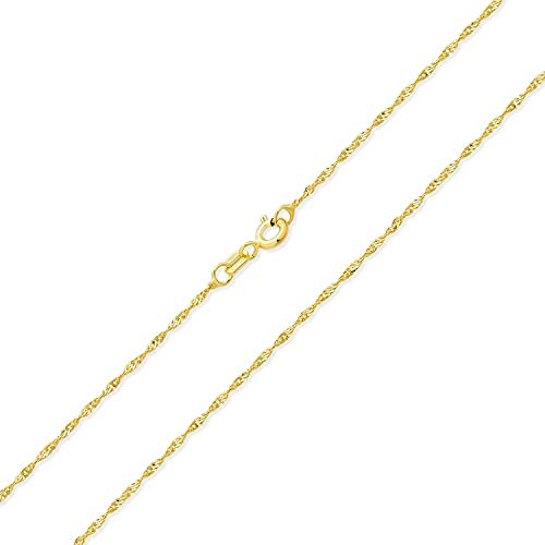 Thin Singapore Link Chain 1.5 MM 020 Gauge For Women Necklace 14K Gold Plated 925 Sterling Silver Made In Italy 16 Inch