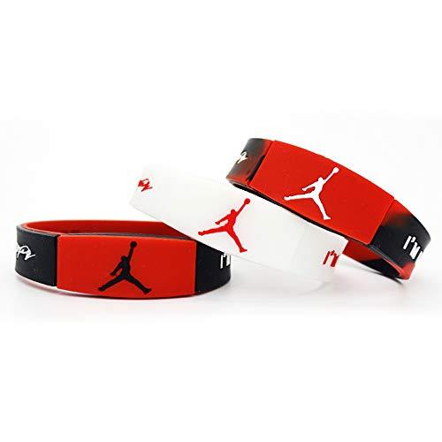 Lorh's store NBA Basketball Sterne inspirierende Unterschrift Doppelschicht Gedenk-Ausgabe Armbänder Reversible Sport Silikon Armband 3 Stück (Michael Jordan)