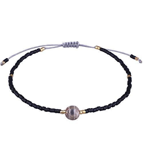 KELITCH Women Bracelets for Girls Men Japanese Import Bead Cute Agate Braided Friendship Charm Bracelet Handmade Adjustable Rope Bangle (Black)