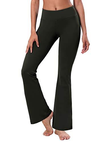 "BUBBLELIME 29""/31""/33""/35"" 4 Styles Women's Bootcut Yoga Pants Tummy Control - Basic Bootleg_Olivegray XL_33"" Inseam"