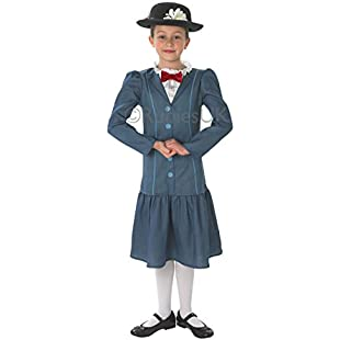 1960s Mary Poppins + Hat Girls Fancy Dress 60s Disney Childs Costume Outfit:Iracematravel