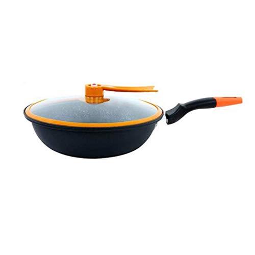 HZXLYG Semplice e Bella HzPDGWok - Wok Pan con Premium Coperchio e Bonus Bamboo Spatola - Acciaio Inox di Spessore frittura con Impugnatura ergonomica e Non-Stick