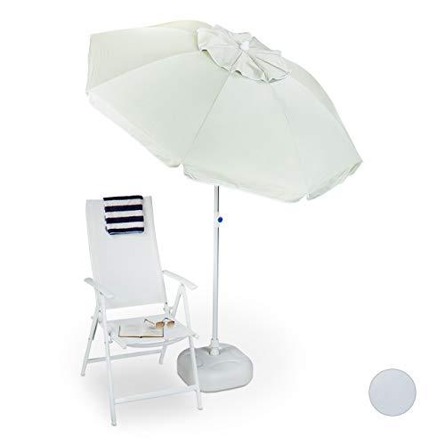 Relaxdays Ombrellone Giardino, Spiaggia, 180 x 180 cm, Premium, Poliestere, Apertura a ventaglio, orientabile, Colore Naturale