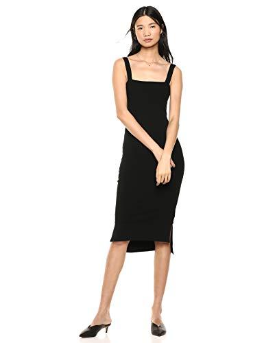 The Drop Amelia Vestido de largo medio Bodycon de tirantes y con escote cuadrado, negro, XL