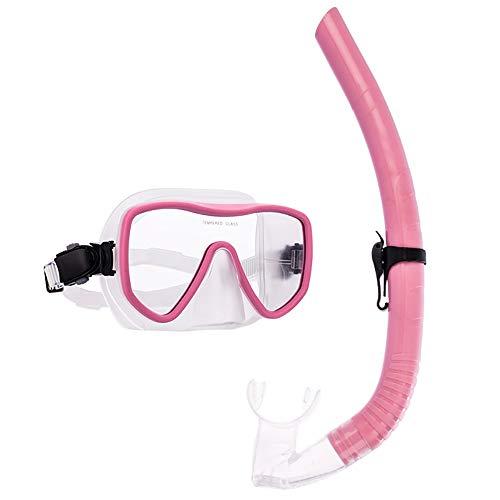 Sunbobo Traje de máscara Duradera actualizada Anti-Fog Anti-Fugas Amplia Vista Amplia Snorkel Diving Goggles y Fácil Respiración Snorkel Gear Adecuado para Snorkeling (Color : Pink, Size : One Size)