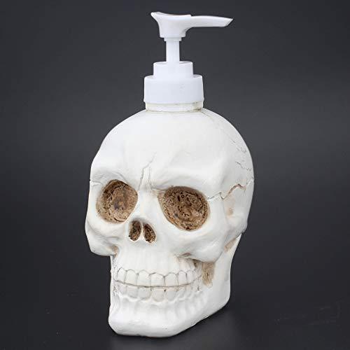 Dispensador de jabón de resina cráneo Loción de almacenamiento de botellas Jar líquido frasco dispensador presionado a mano botella de desinfectante Gel de Ducha de recambio for el baño Restaurante de