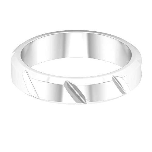 Anillo de boda para hombre, anillo de compromiso novio, anillo único grabado, anillo simple de aniversario, anillo de oro sólido, anillo de marido delicado, 14K Oro blanco, Size:EU 55