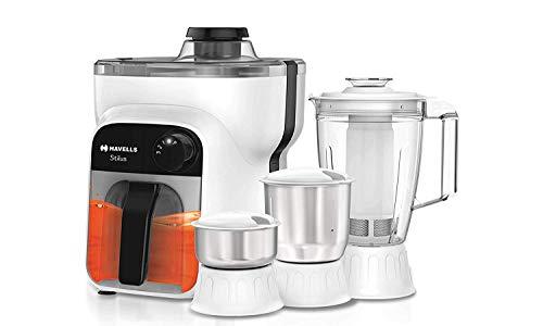 Havells Stilus 500 Watt Juicer Mixer Grinder with 4 jar (White/Black)