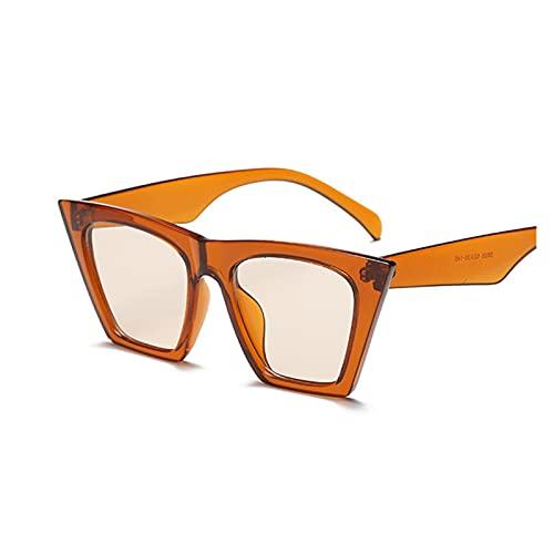 Moda Negro Gato Ojo Gafas de Sol Mujeres diseñador de Marca Sexy Elegante Sol Gafas para Las Mujeres Tonos de Revestimiento Femenino UV400 (Lenses Color : Orange Brown)