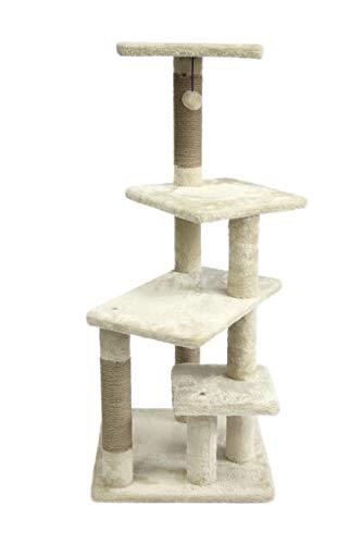 AmazonBasics Multi-Platform Cat Condo Tree Tower - 28 x 21 x 42 Inches, Beige