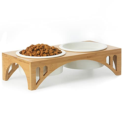 FUKUMARU Elevated Dog Ceramic Bowls, Raised Food Feeding Dishes for Large Cats and Dogs, Solid Bamboo Water Stand Feeder Set