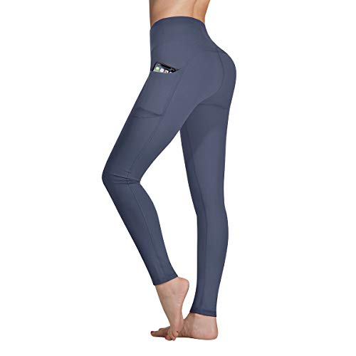 Occffy Yoga Pants for Women High Waist with Pockets Flex Leggings Tummy Control Workout Running Tights DS166 (Deep Grey, X-Small)
