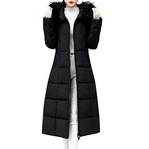 iHENGH Damen Oberbekleidung Faux Pelz mit Kapuze Mantel Lange Baumwolle aufgefüllte Jacken Taschen Mäntel(Schwarz, L)