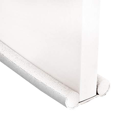 Pineocus Boudin de porte de 94,4 cm - Double porte - Économie dénergie - Bloque les courants dair sous la porte - Bloque les intempéries et le bruit - Blanc