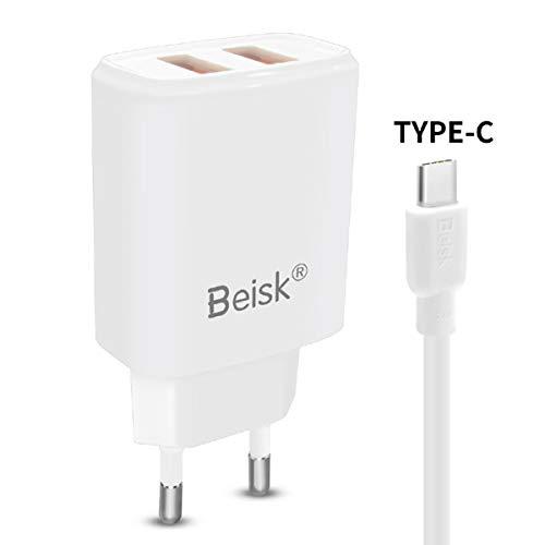 BEISK, Cargador USB Pared + Cable Tipo C, Carga Rápida, con 2 Puertos USB, 3.1A, Enchufe Europa para Android, Samsung S10/S9/S8/Note, Huawei P30/P20/Mate20, Xiaomi, Motorola, LG, Etc. Blanco