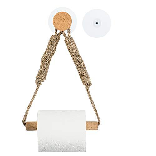 Toilettenpapierhalter ohne Bohren, WC Papier Halterung Ohne Bohrung Holz Klopapierrollenhalter mit Vintage Industrie Seil