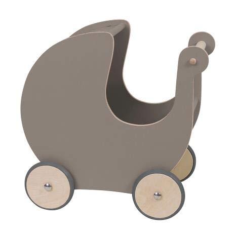 Sebra Cochecito de muñecas de color gris cálido, de madera, a partir de 1 año, 45 cm x 25 cm x 44 cm, Sebra0496