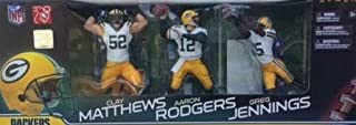 Green Bay Super Bowl Champions Packers Team Set Six Inch Action Figures Aaron Rodgers #12 Clay Matthews #52 and Greg Jennings #85 Action Figures White Jerseys