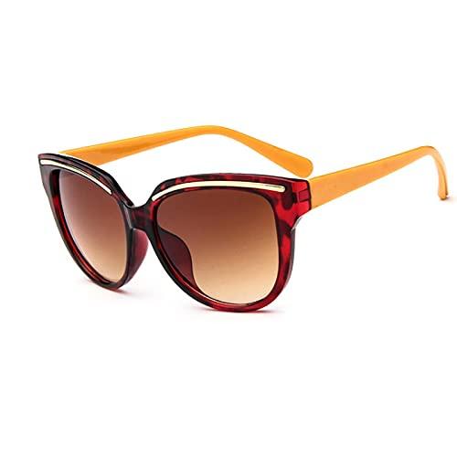 SONGQ Gafas de sol clásicas de ojo de gato al aire libre marco de plástico anti-reflectante gafas de sol mujer Flowerbrown