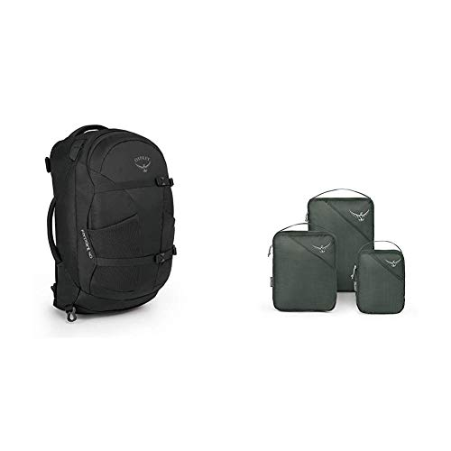 Osprey Farpoint 40 Outdoor & Trekking Rucksack & Ultralight Packing Cube Set - Shadow Grey (S/M/L)