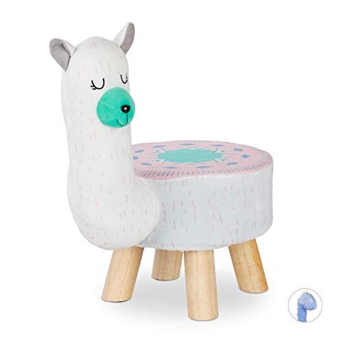 Relaxdays Taburete Infantil Llama, Silla Niños, Funda Extraíble, DM-Poliéster-Gomaespuma, 48 x 28 x 42 cm, Blanco