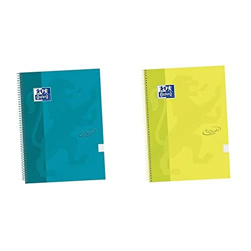 Oxford Touch - Cuaderno espiral tapa extradura, Fº, 4 x 4 c/m, color aqua + Cuaderno espiral tapa extradura, Fº, 4 x 4 c/m, color lima