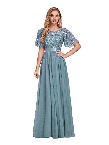 abito donna 46 Ever-Pretty Abiti da Cerimonia Stile Impero Maniche Corte Linea ad A Elegante Scollo a Rotondo Donna Tulle Blu Polveroso 46