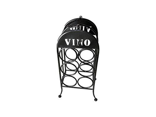 eXODA Estante de Vino de Metal de pie Vintage para 6 Botellas Negro Gris metálico Inoxidable