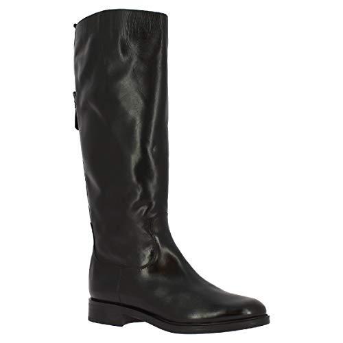 Leonardo Shoes M138 Light Nero Stiefel, hohe Knie, für Damen, Leder, schwarz, Reißverschluss, Schnalle, Schwarz - Schwarz  - Größe: 36 EU
