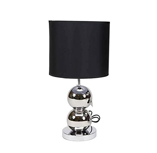 LÁMPARA DE MESA BASE DE CERÁMICA de diseño moderno en color plateado y pantalla de tela color negro | Casquillo E27 (Bombilla no incluida) Perfecta para el salón, dormitorio o recibidor (Plata)