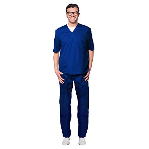 AIESI® Divisa Sanitaria uomo donna in cotone 100% sanforizzato pantaloni e casacca scollo a V # Made in Italy # taglia XXL BLU ROYAL