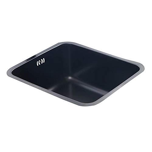 SI-NK Fregadero De Cocina, Fregadero De Un Solo Tazón Nano Negro De Acero Inoxidable 304 con Grifo Redondo, para Restaurante Y Cocina (Tamaño: 436X386X200 Mm)