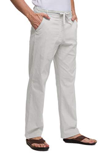Janmid Men's Drawstring Casual Beach Trousers Linen Summer Pants Light Grey XL
