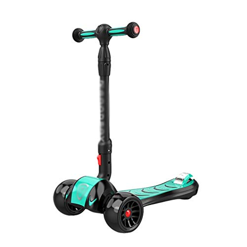 Dongxiao Roller Roller Faltbare Einstellbare Höhengröße Pu-blinkende Räder Roller für Kinder Alter 2-14 Mager...